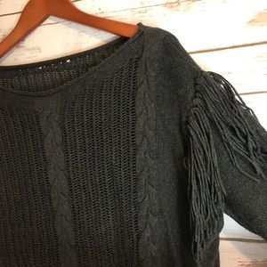 LAmade gray cotton fringed shoulder sweater